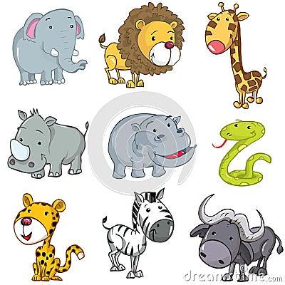 Insieme degli animali svegli del fumetto