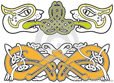 Insieme degli elementi celtici di disegno degli animali