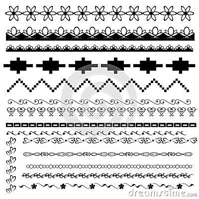 Insieme dei bordi in bianco e nero