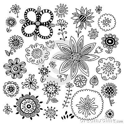 Insieme dei fiori disegnati a mano illustrazione for Fiori disegnati