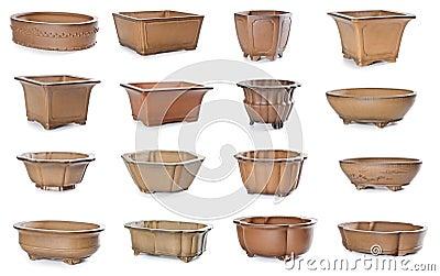Insieme dei flowerpots di ceramica