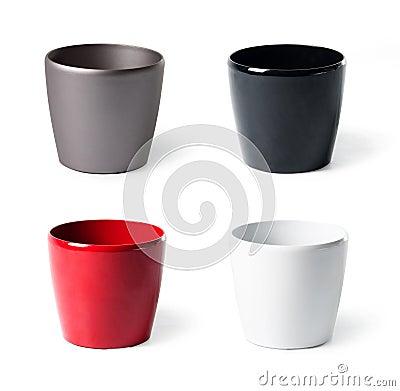 Insieme dei flowerpots di plastica per le piante d appartamento