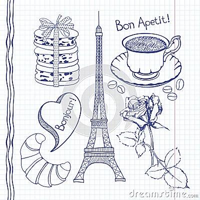 Insieme dei simboli disegnati a mano della francia - Simboli di immagini della francia ...