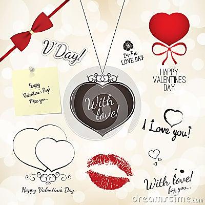 Insieme del giorno dei biglietti di S. Valentino