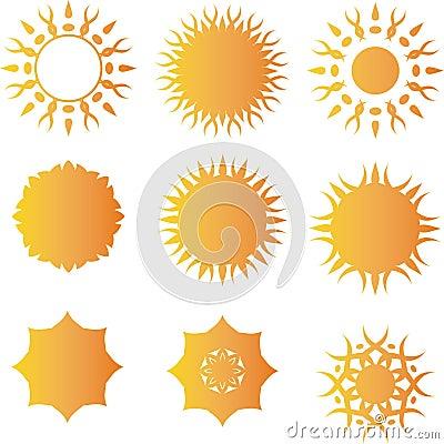Insieme del modello di logo di vettore di Sun