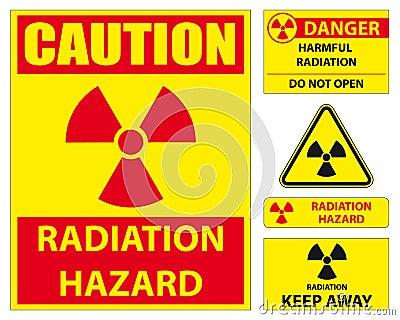 Insieme del segno di rischio di radiazione