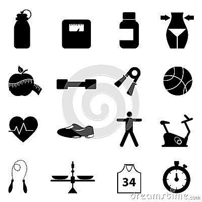 Insieme dell icona di dieta e di forma fisica