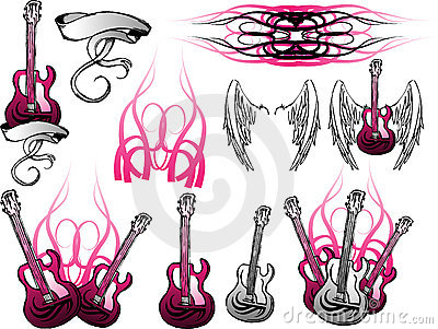 Insieme della chitarra elettrica di Grunge
