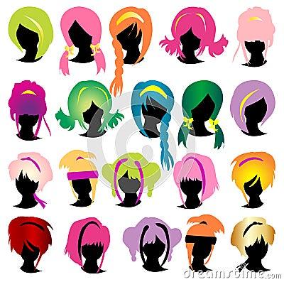Insieme della parrucca delle siluette