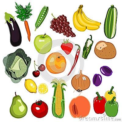 Insieme della verdura e della frutta