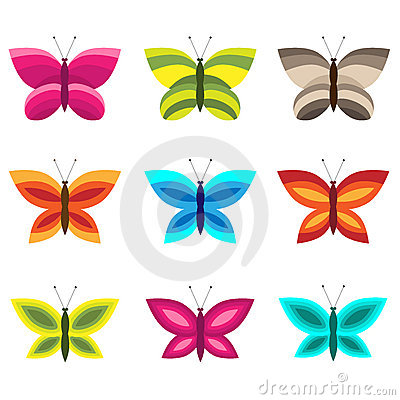 Insieme delle farfalle variopinte