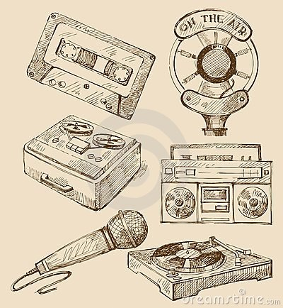 Insieme delle icone disegnate a mano di musica