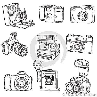 Insieme delle macchine fotografiche della foto fotografia for Disegni delle macchine