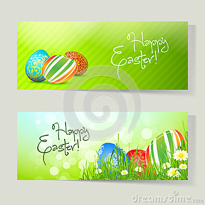 Insieme delle schede di pasqua con le uova