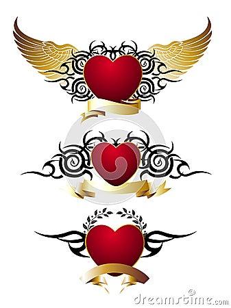 Insieme di amore dei cuori rossi disegno del tatuaggio for Immagini di cuori rossi