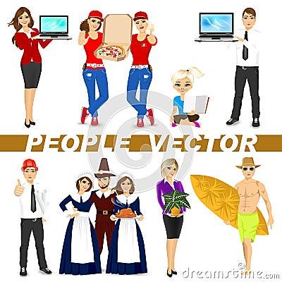 Insieme di diversi caratteri della gente illustrazione - Due caratteri diversi ...