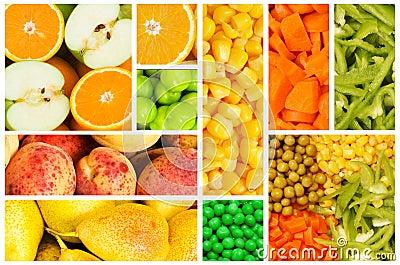 Insieme di frutta e delle verdure
