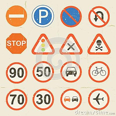 Insieme di lerciume dei segnali stradali retro