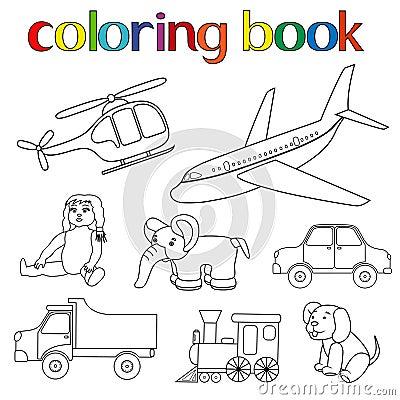 Insieme di vari giocattoli per il libro da colorare - Libro da colorare elefante libro ...