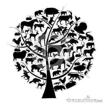 Insieme di vettore della siluetta degli animali sull albero.