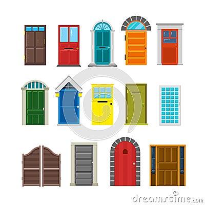 Insieme piano di vettore delle porte anteriori della casa for Piccolo piano di pagamento della casa
