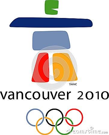 Insignia olímpica de Vancouver 2010 Imagen de archivo editorial