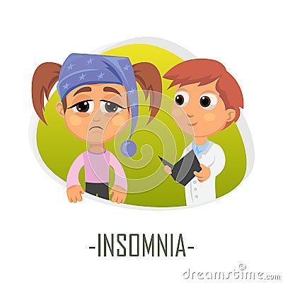 Insomnia medical concept. Vector illustration. Cartoon Illustration