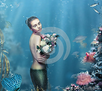 Free Inspiration. Fantastic Woman With Flowers In Water Stock Photos - 51355233