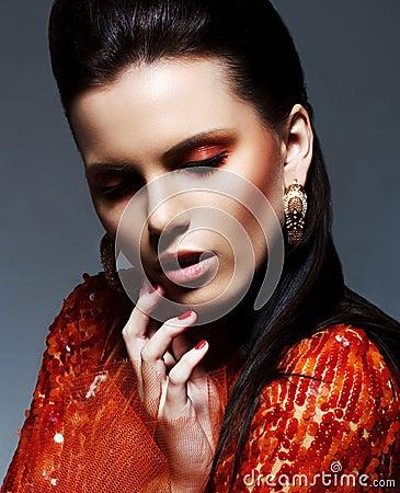 Inspiration. Sultry Brunette in Glossy Magenta Dress in Reverie. Sparkle & Glitter