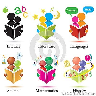 Inställda symboler studerar tillsammans