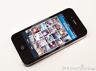 Instagram app on iPhone Editorial Stock Photo