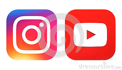 Instagram new logo and Youtube icon printed on white paper Editorial Stock Photo