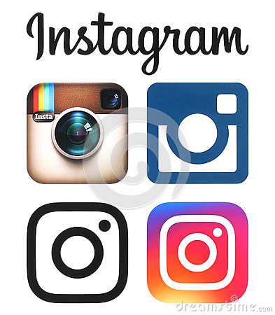 Free Instagram Old And New Logos And Icons Printed On White Paper Royalty Free Stock Photos - 71843148