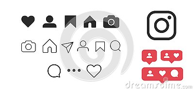 Instagram Vector pictogram Set of social media icons pics like, follower, comment, home, camera, user, search,New user, followers Vector Illustration