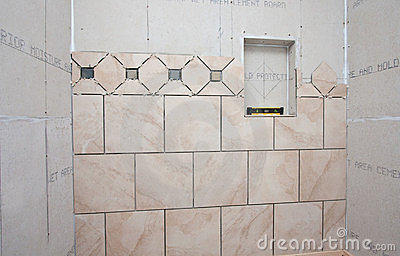 Installation Of Tiles In Bath Royalty Free Stock Photo - Image: 18985815