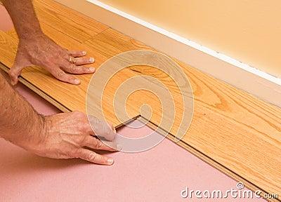 Installing Engineered Hardwood Floor Stock Photo Image