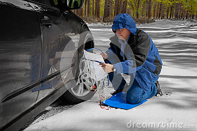 Installing Snow Tire Chains