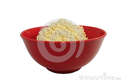 Instant noodle in a bowl