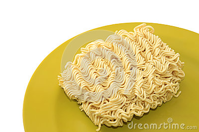 Instant noodle on a plate