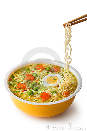 Instant noodles with chopsticks