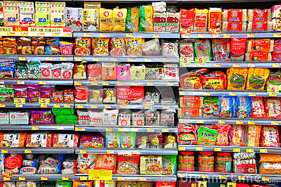 Instant noodles on supermarket shelves