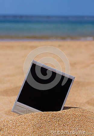 Instant photo on a beach