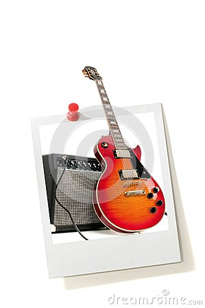 Instant photo print and electric guitar