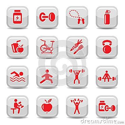 Inställda bodybuilding- och konditionsymboler