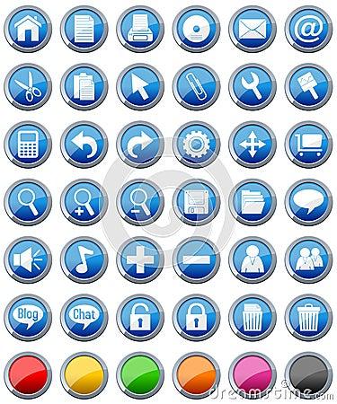 Inställda glansiga symboler för 1 knappar