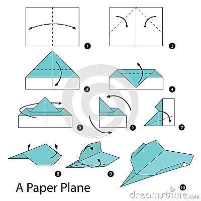 instructions tape par tape comment faire origami un avion de papier illustration de vecteur. Black Bedroom Furniture Sets. Home Design Ideas