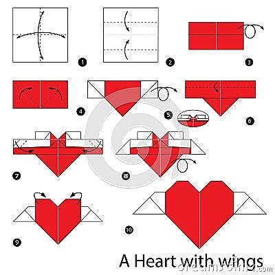 Instructions tape par tape comment faire le coeur d 39 origami avec des ai - Faire un coeur en papier ...
