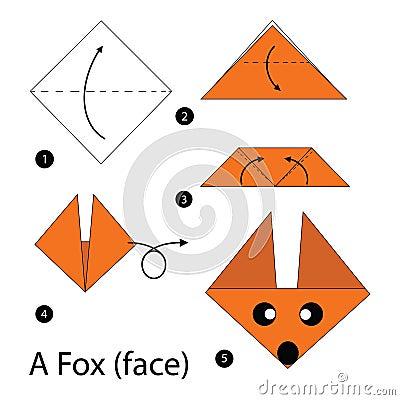 Instructions tape par tape comment faire le fox de l 39 origami a illustration de vecteur image - Comment faire de l origami ...