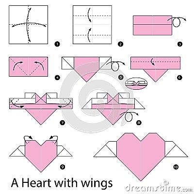 instructions tape par tape comment faire origami un coeur avec des ailes illustration de. Black Bedroom Furniture Sets. Home Design Ideas