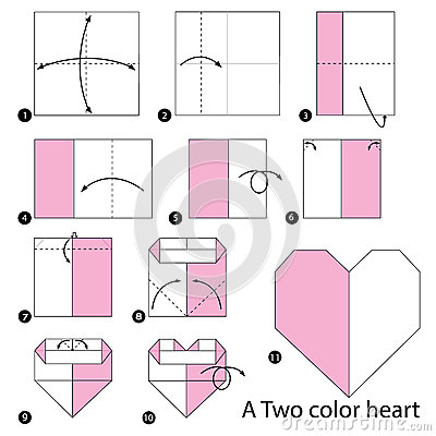 instructions tape par tape comment faire origami un coeur de deux couleurs illustration de. Black Bedroom Furniture Sets. Home Design Ideas